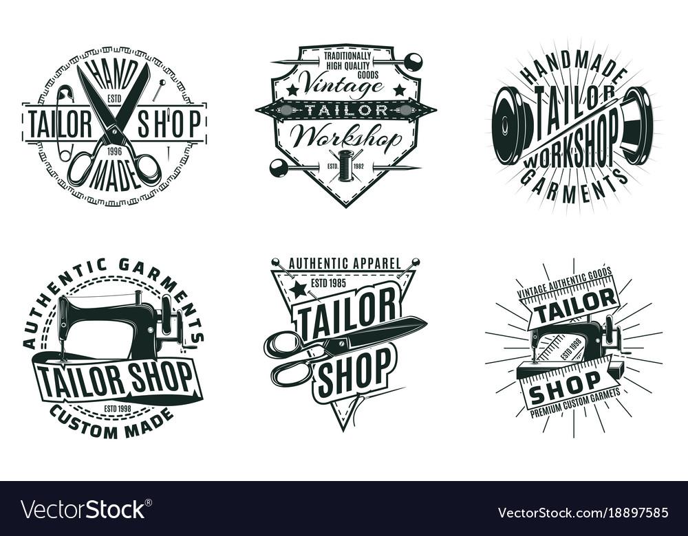 Monochrome vintage tailor shop logos set
