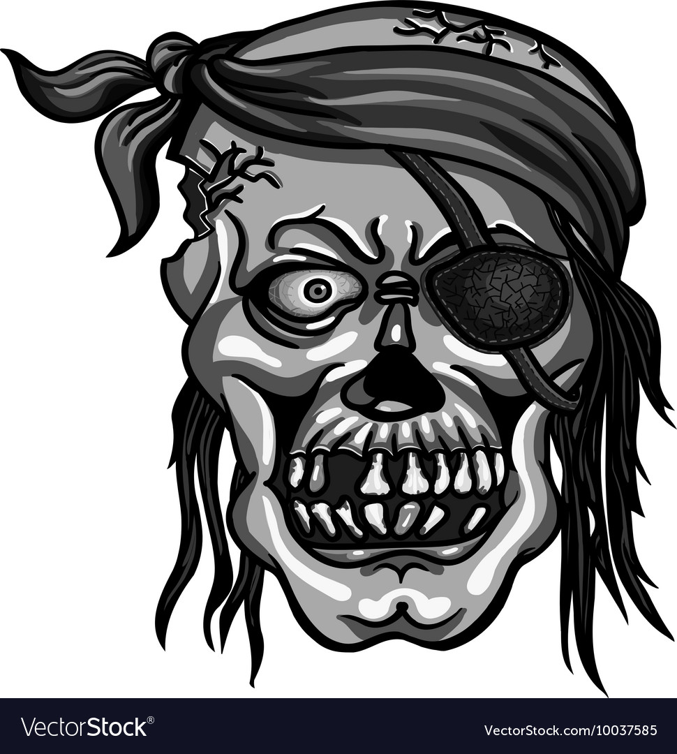 Pirate skull in bandanna without one eye vector image
