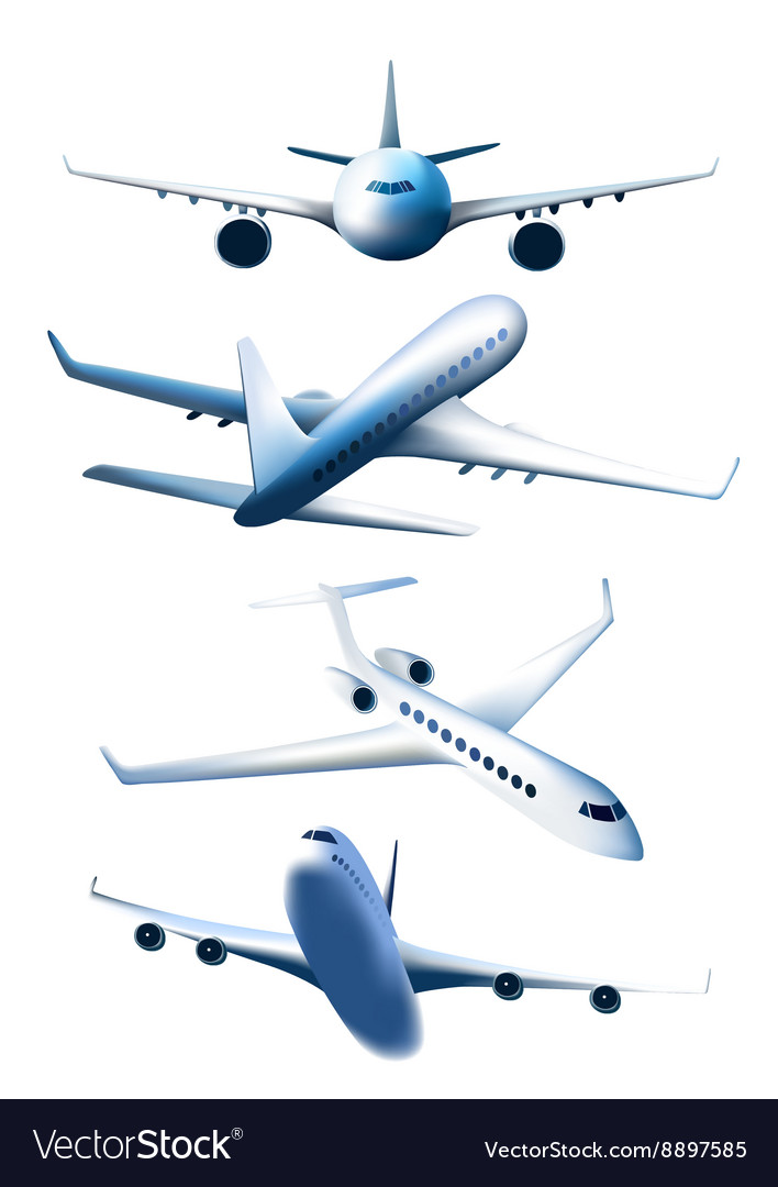 Set of airplanes in different foreshortening