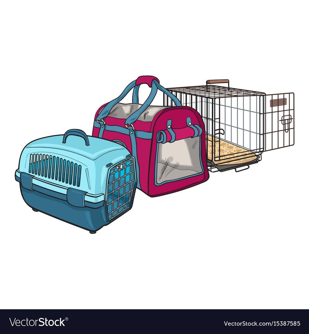 Three type of pet carrier transport bag plastic