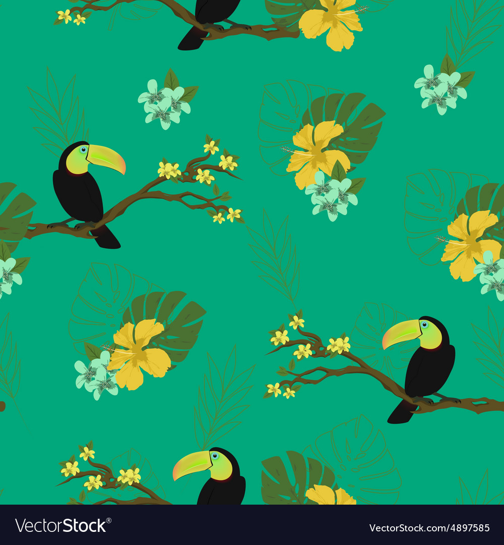 Watercolor birds Seamless background