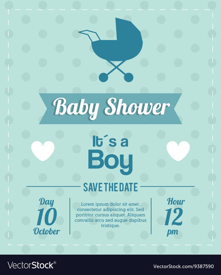 Baby Shower design stroller icon Blue vector image