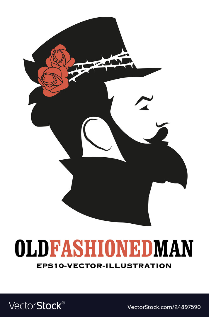 Bearded man in old style wearing a top hat