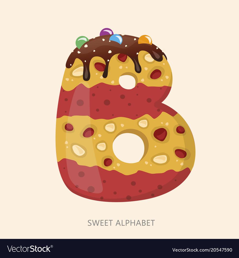 Cartoon candy alphabet letter b