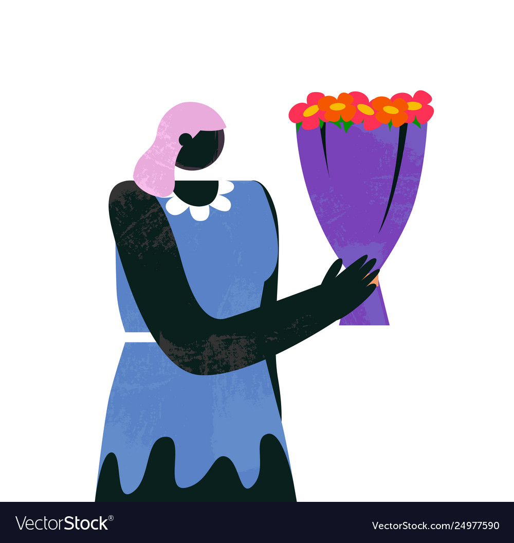 Cartoon woman with bouquet flowers isolated