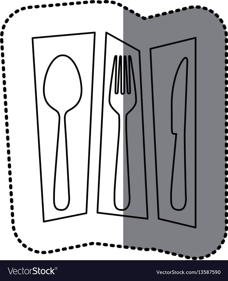 Contour cutlery tools icon vector image