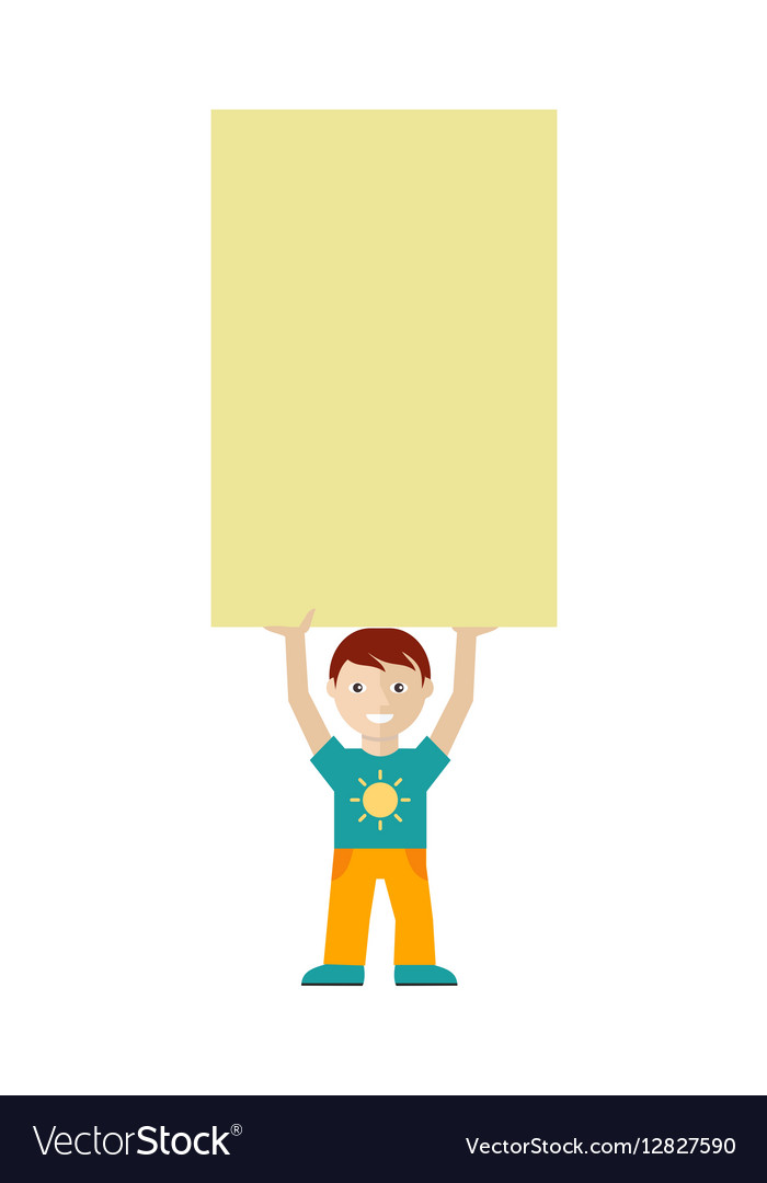 Cute Boy Character Holding Blank Message Board vector image