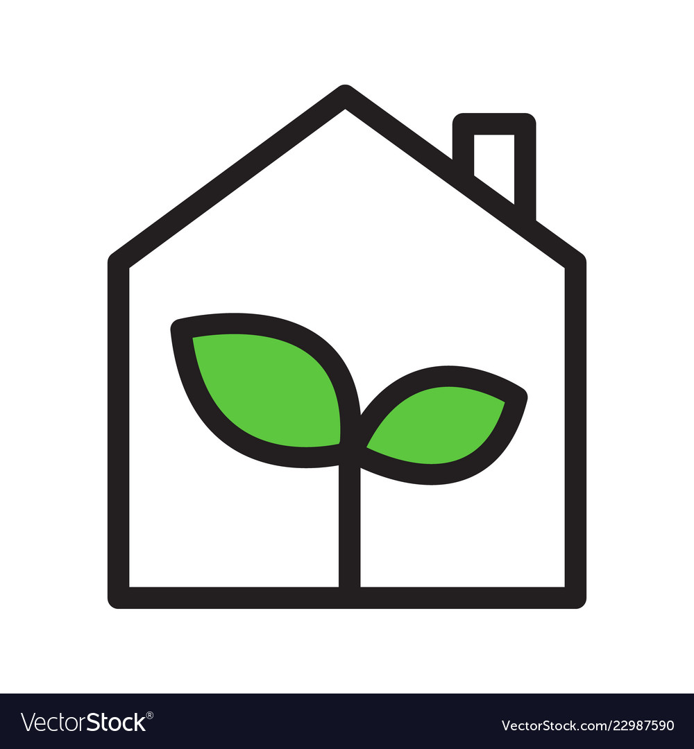 Eco green house simple outline icon black with