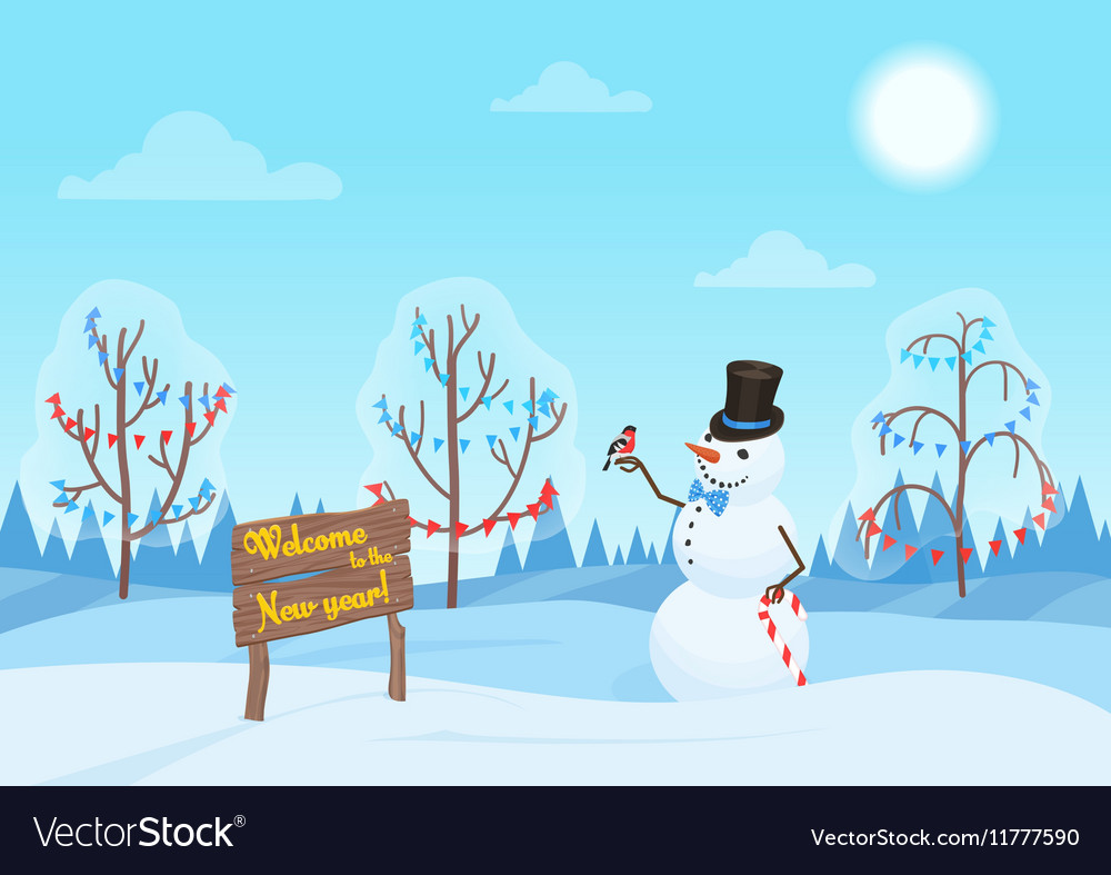 Greeting Christmas card snowman in the forest