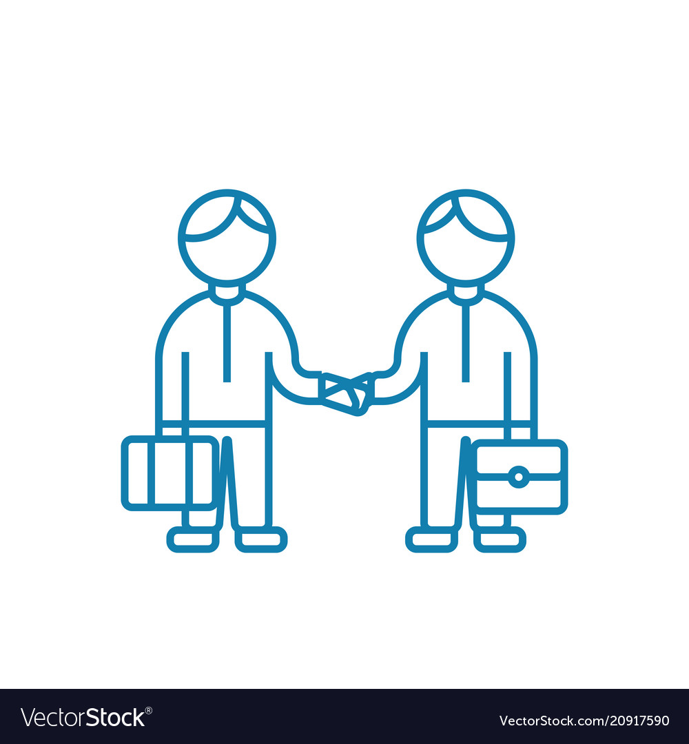 Mutual Agreement Linear Icon Concept Mutual Vector Image