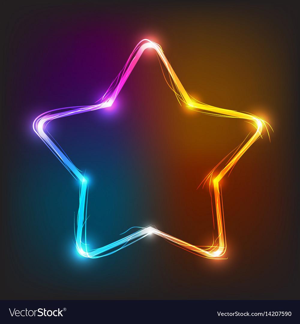 Neon star illuminated neon billboard vector image