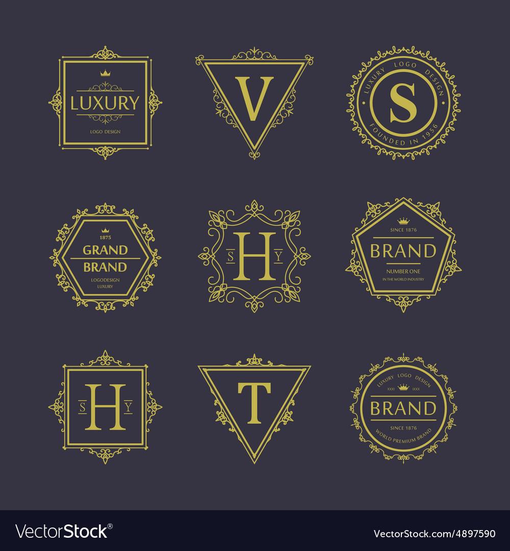 Set badges old school vintage banners