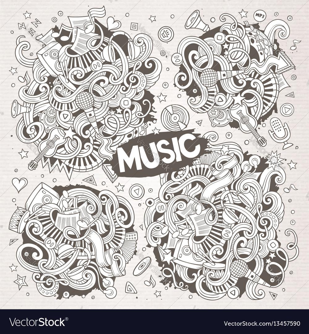 Sketchy doodles cartoon set of music vector image