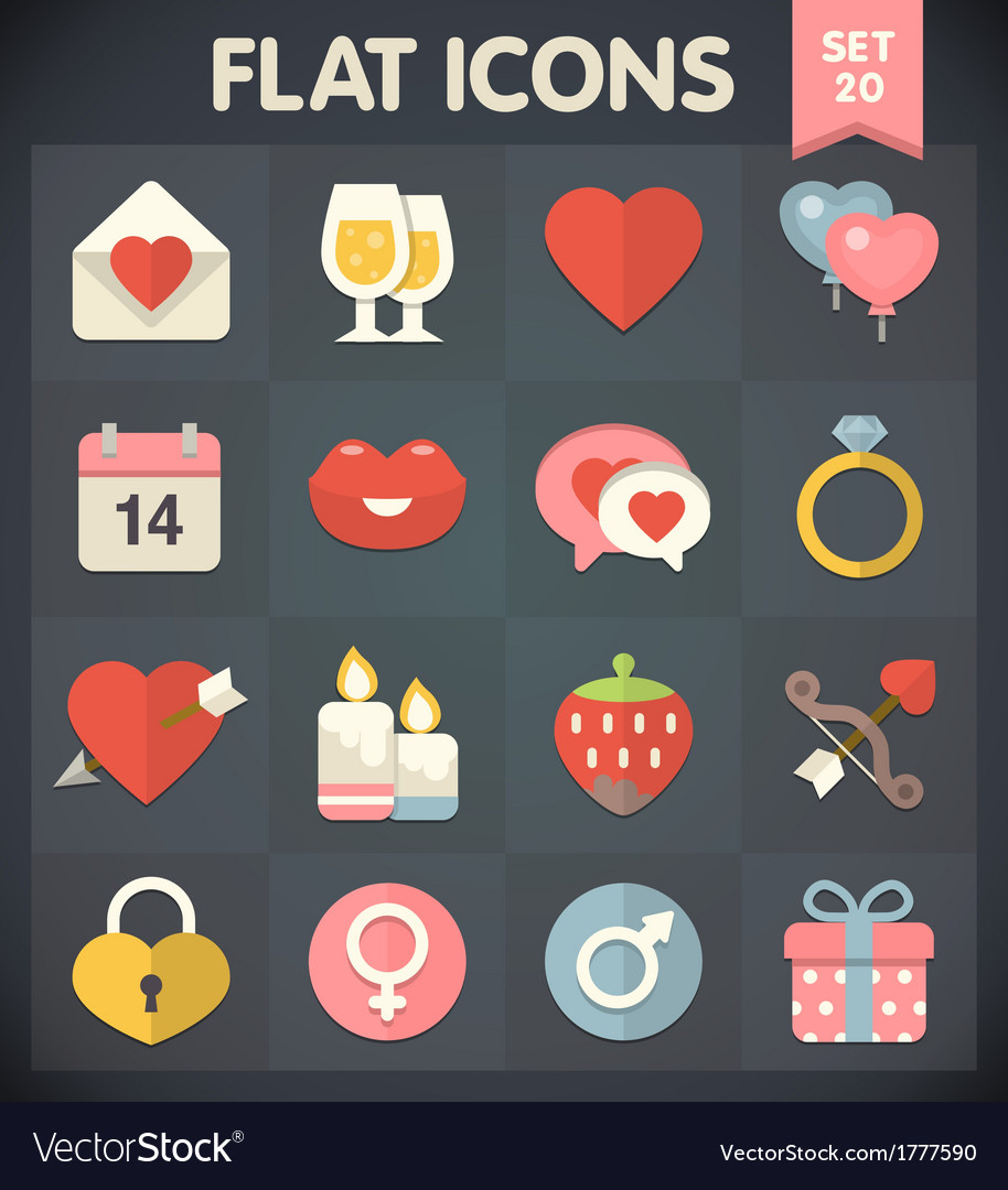 Valentines Day Flat Icons for Applications