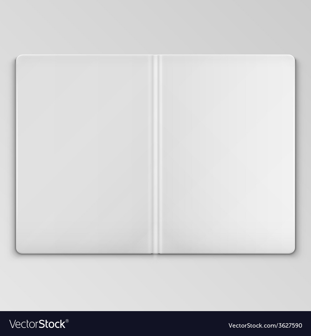 white open book cover template royalty free vector image