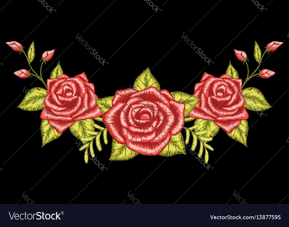 3 Roses Embroidery Black Background Royalty Free Vector
