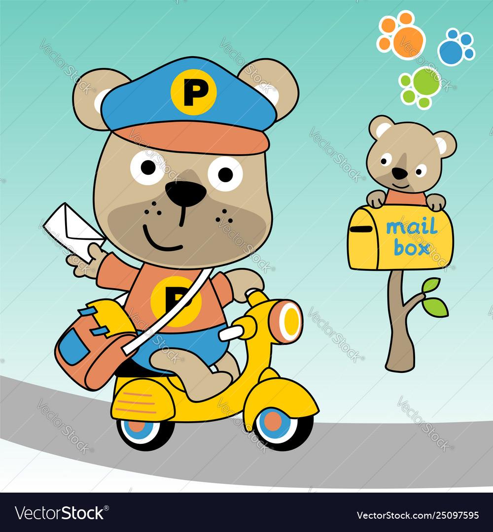 Cute bear postman cartoon