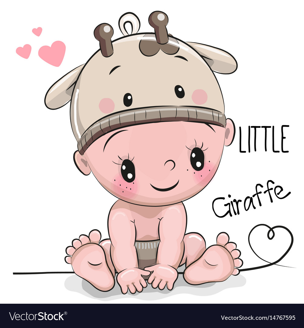cute cartoon baby boy in a giraffe hat royalty free vector rh vectorstock com free baby boy cartoon images cute baby boy cartoon images