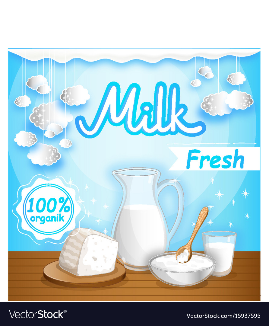 Dairy banner with milk products