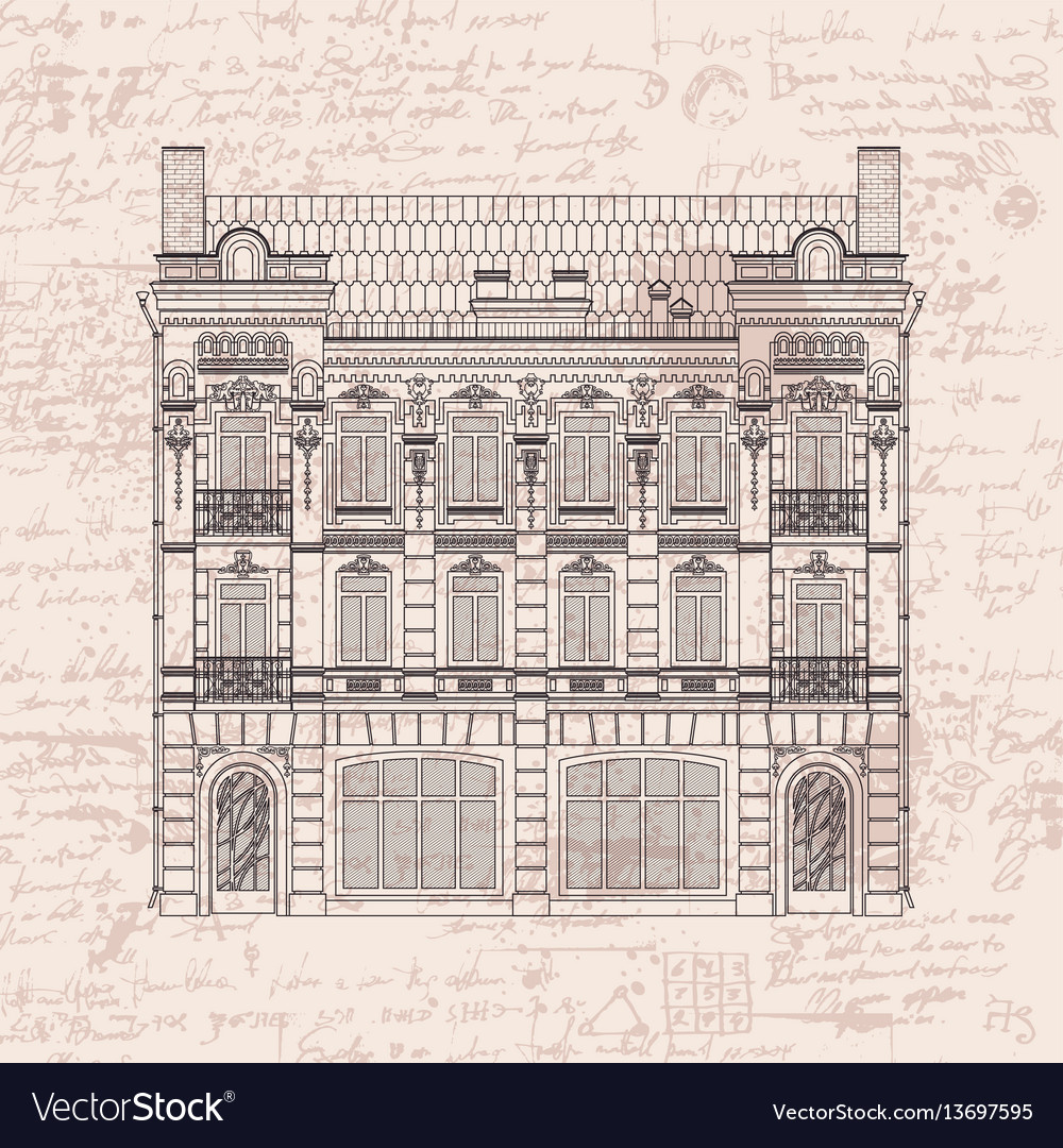 Drawing Two Storey House In Baroque Style Vector Image