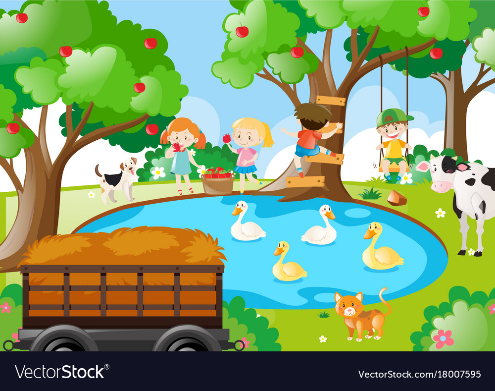 Farm scene with children picking apples