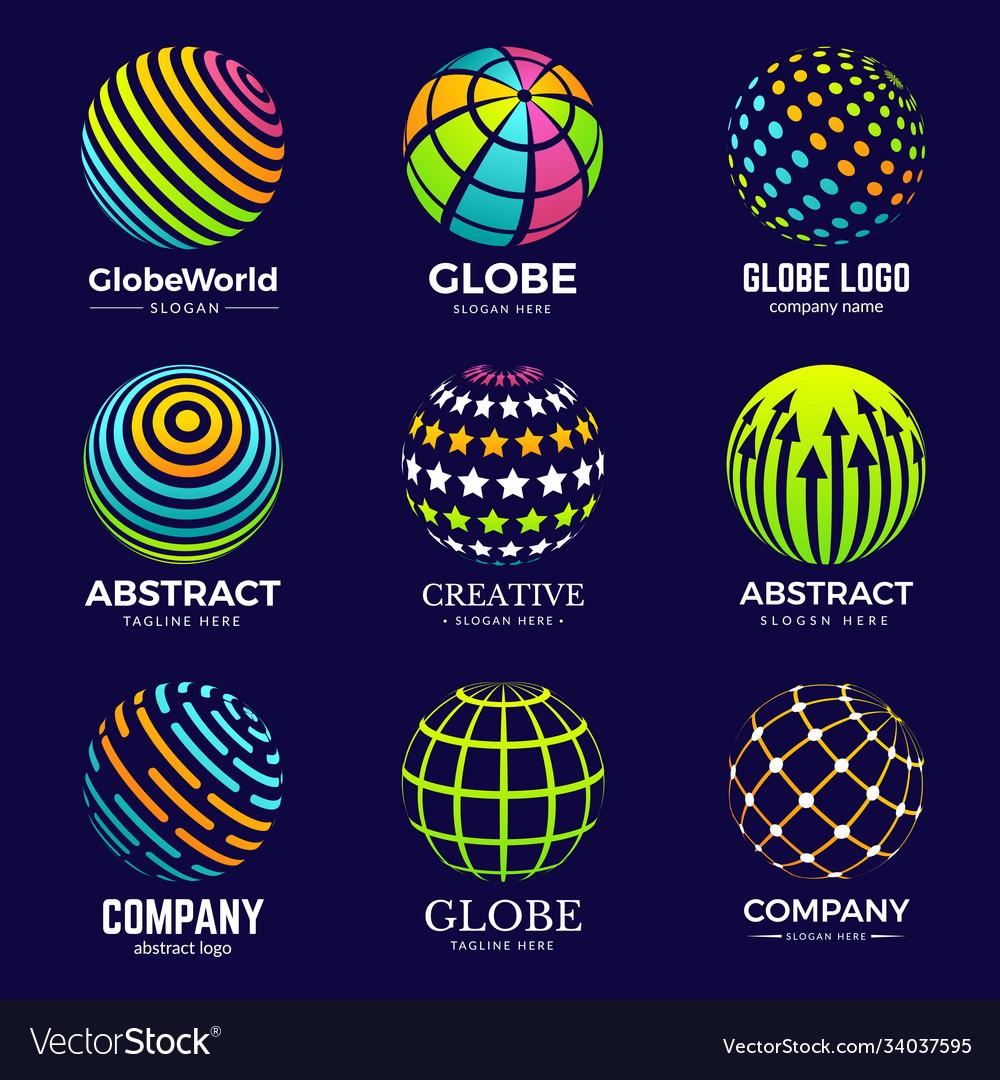 Globe logo stylized circle shapes for business