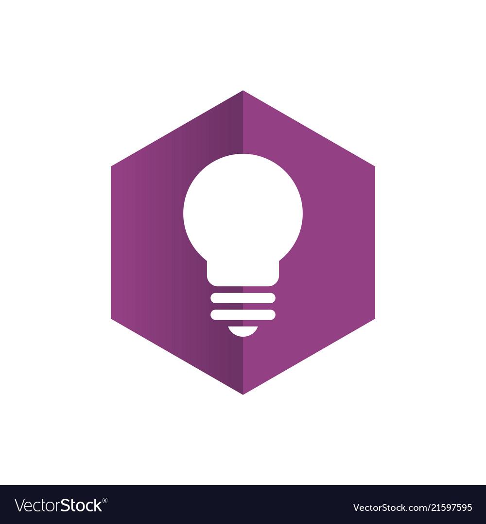 Hexagon with light bulb logo