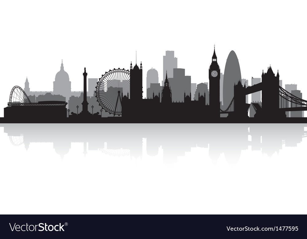 london city skyline silhouette royalty free vector image. Black Bedroom Furniture Sets. Home Design Ideas
