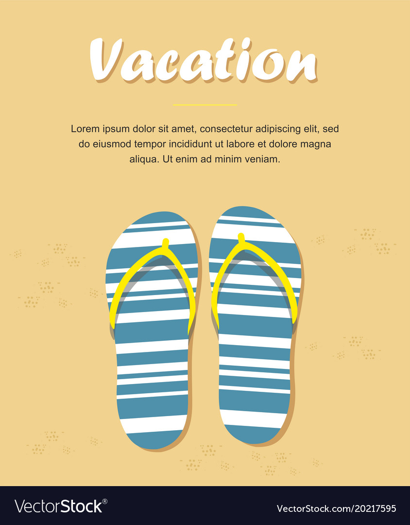 7f02a3a5cc16 Slippers or flip flops on beach sand Royalty Free Vector