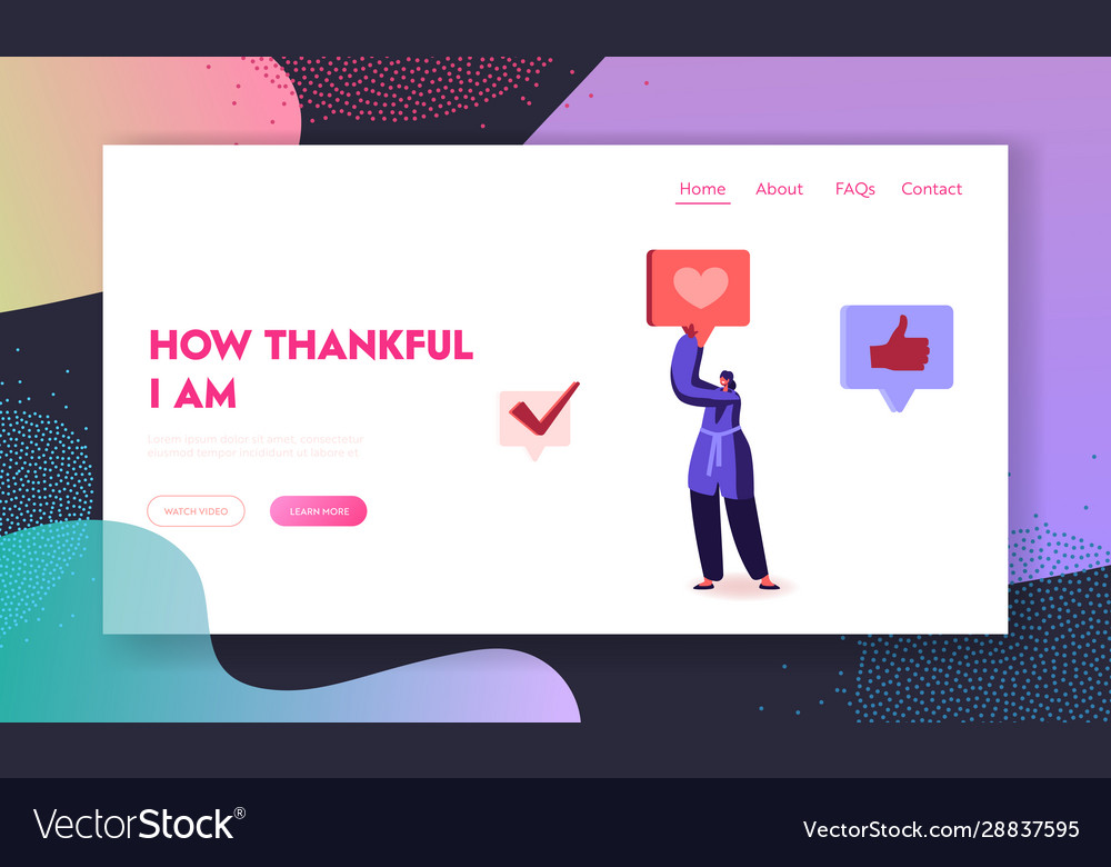 Thank you website landing page young woman social