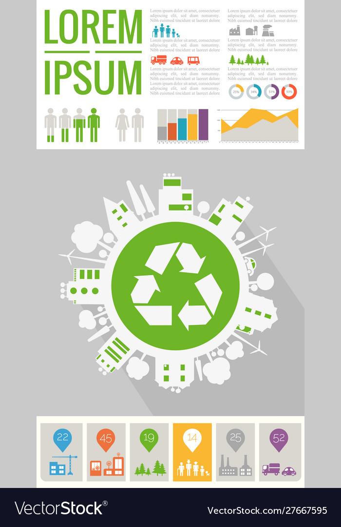 Trendy futuristic eco city infographics templates