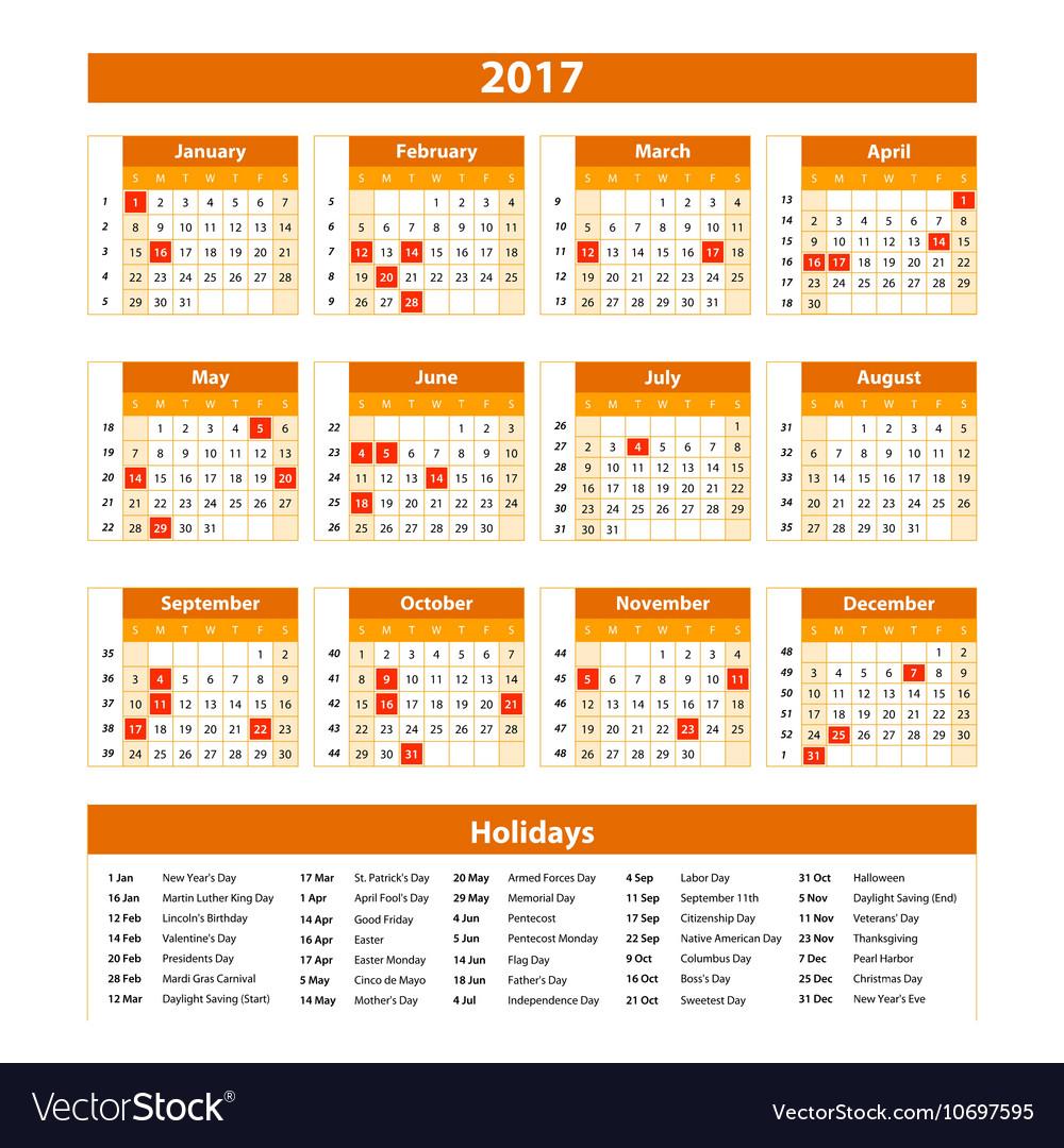 Wall Calendar Planner for 2017 Year Design Print