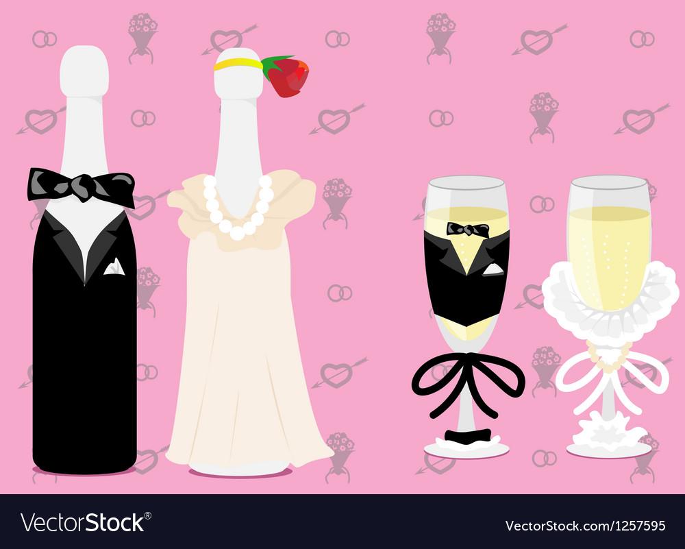 Wedding champagne vector image
