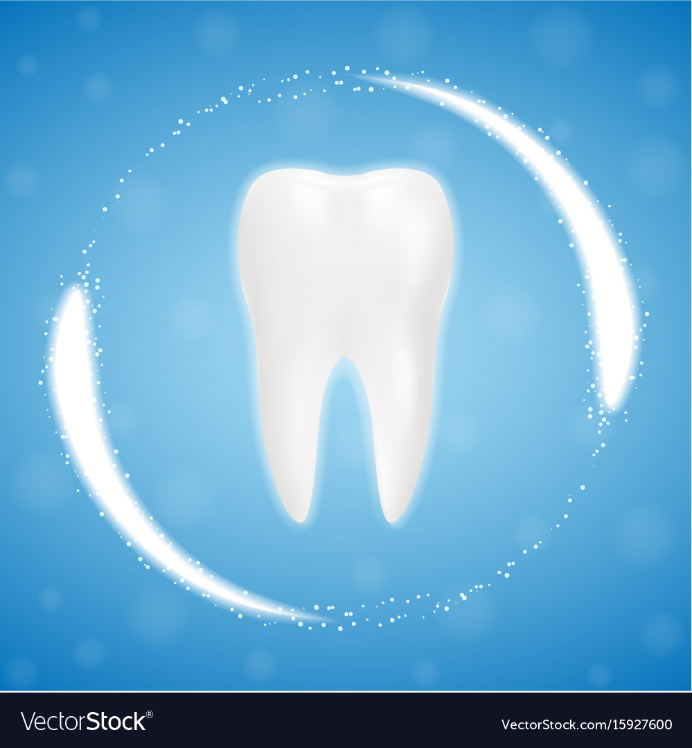 3d realistic clean tooth clearing tooth process vector image