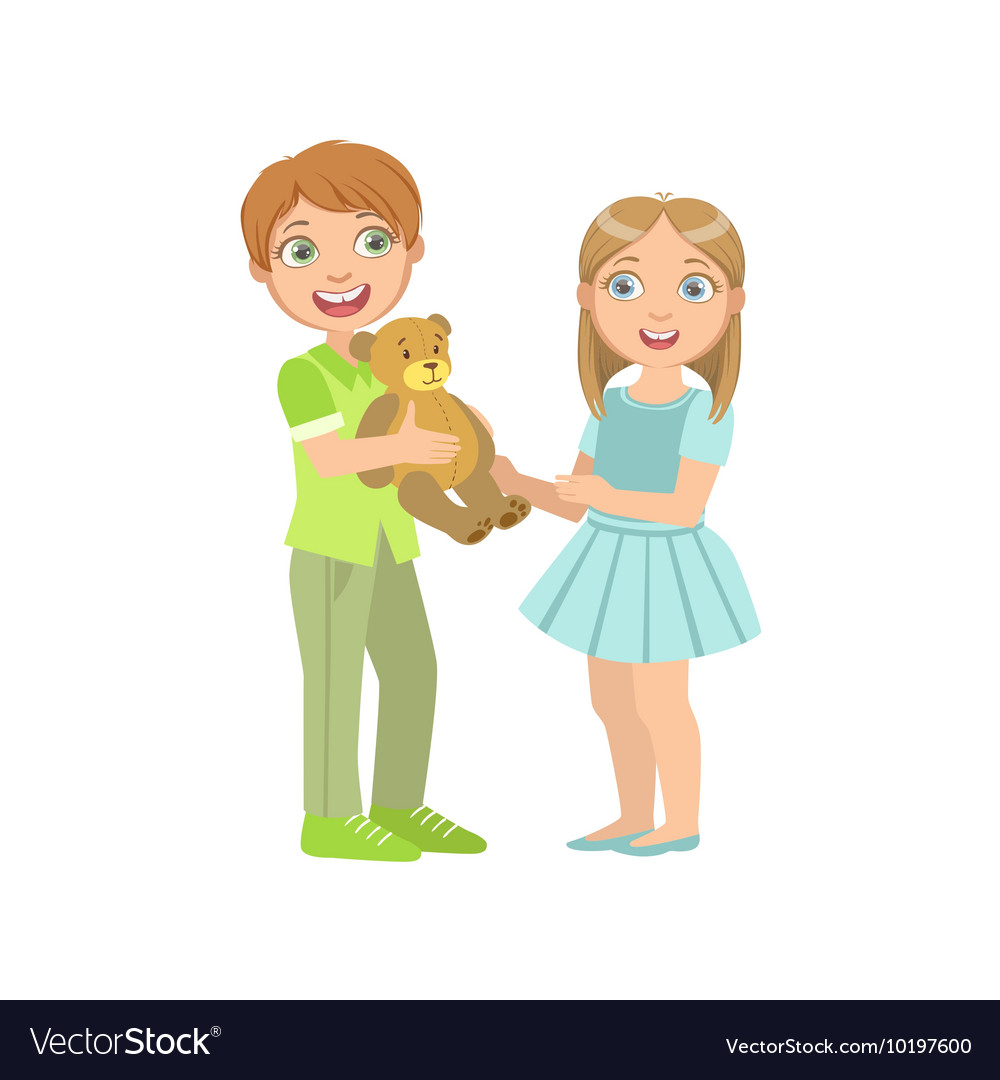 Boy Presenting A Teddy Bear To Girl vector image