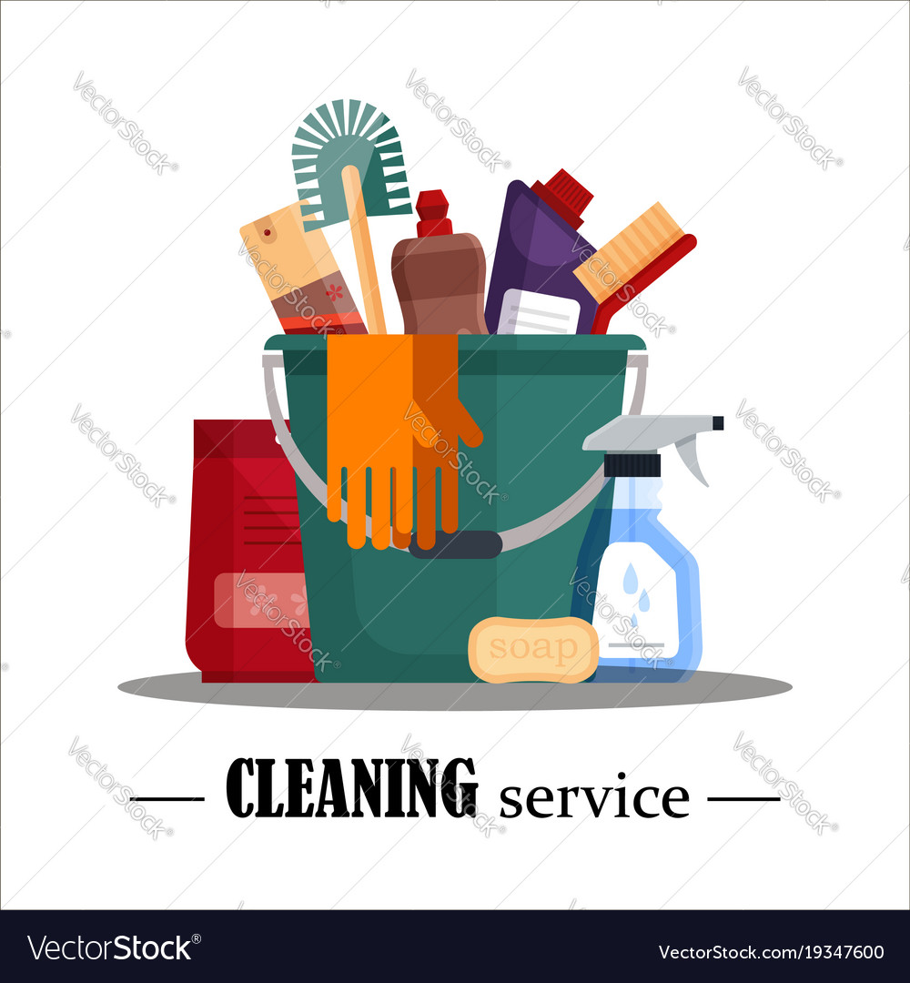 cleaning service set house cleaning tools in vector image