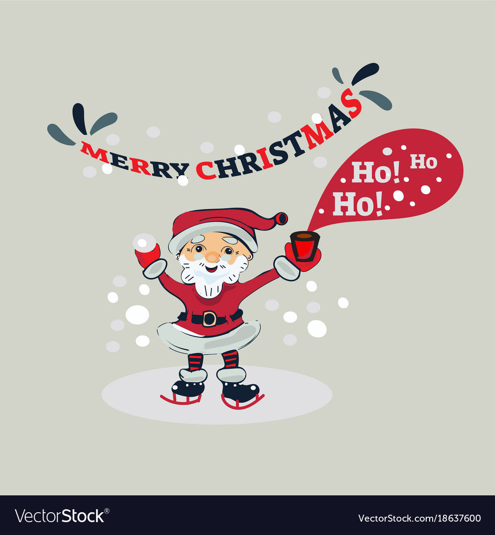 Ho Ho Ho Merry Christmas.Ho Ho Ho Merry Christmas Santa Claus In The Ice