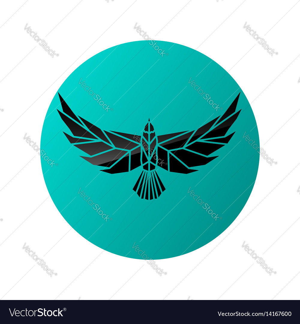 Logotype silhouette of flying eagle vector image