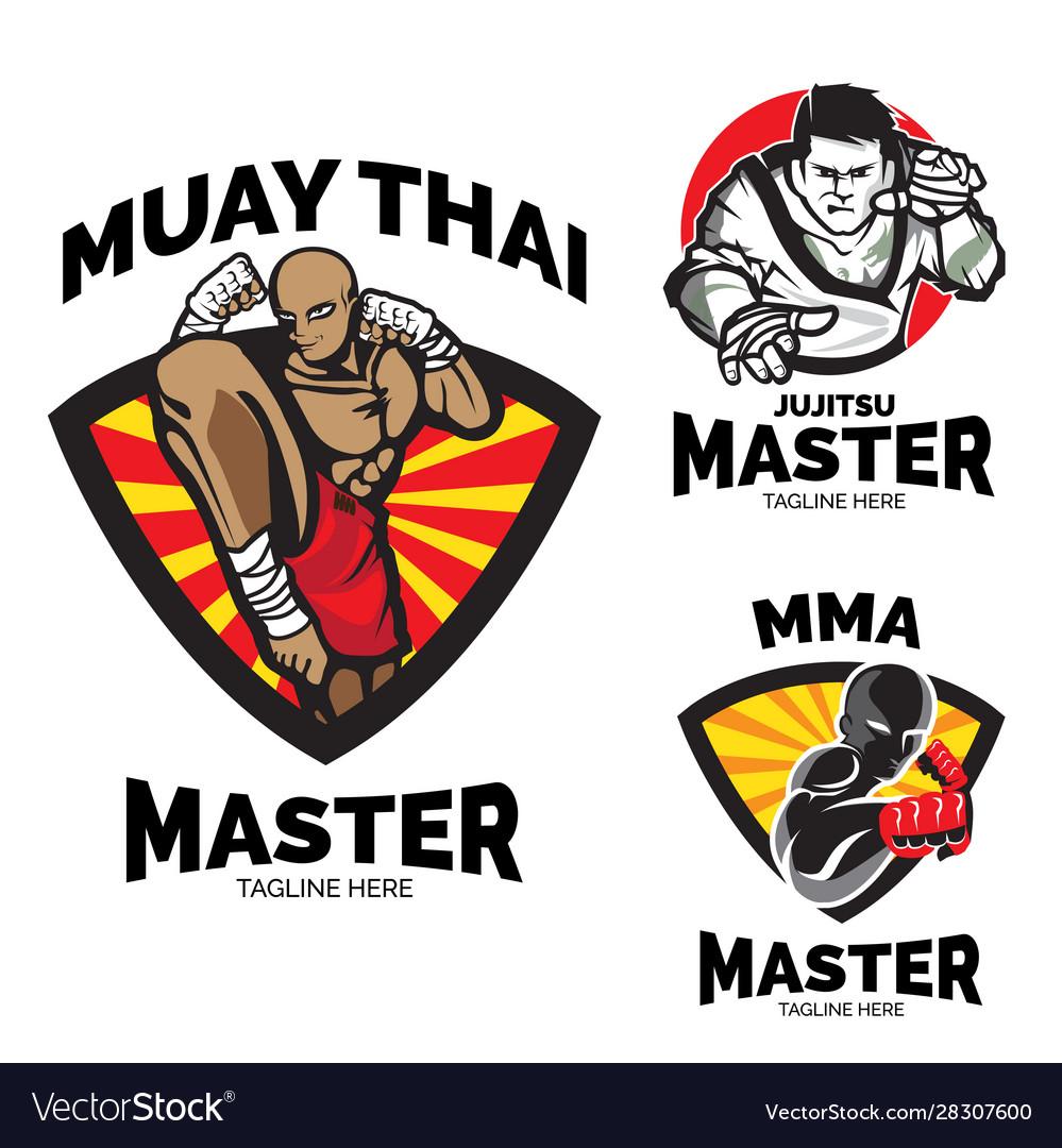 Martial art master theme logo set