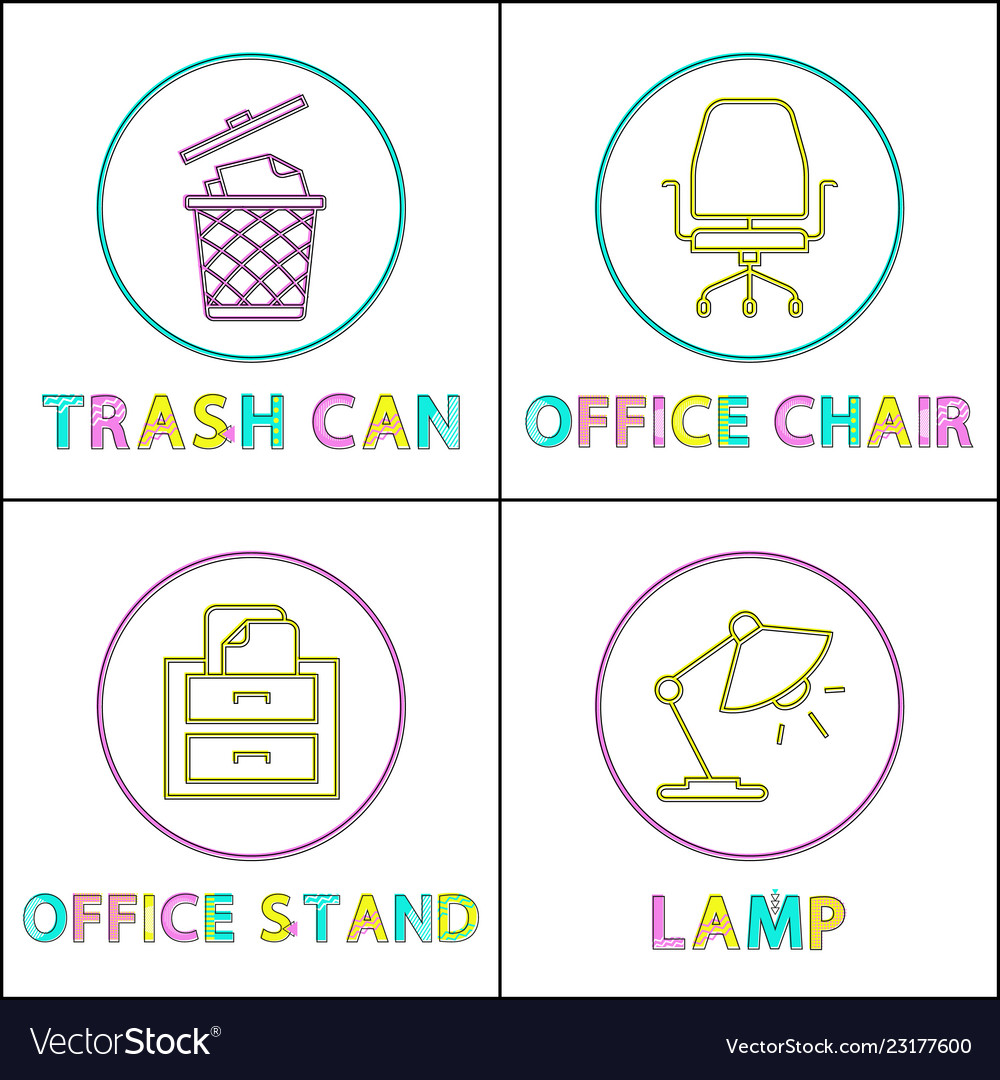 Office enviroment elements round linear icons set