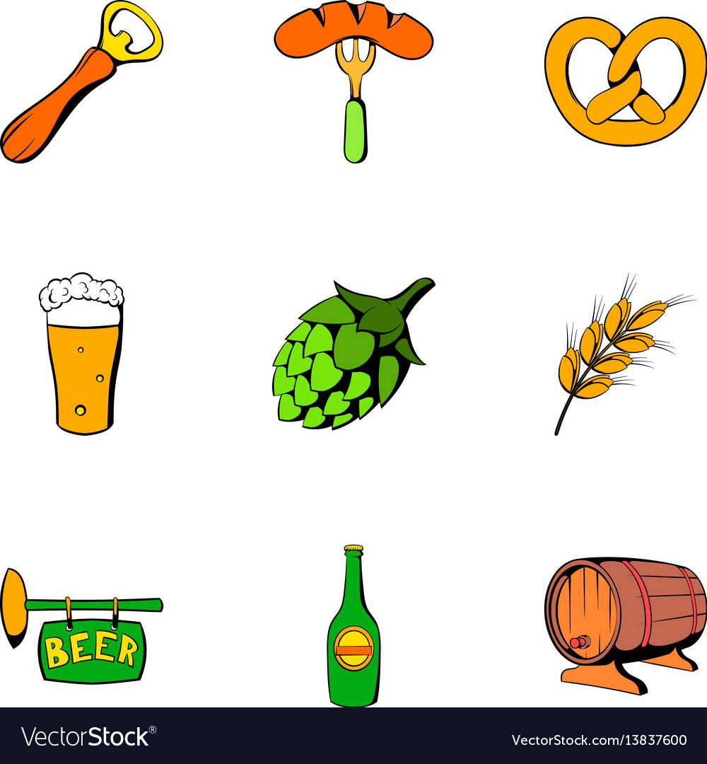 Oktoberfest icons set cartoon style