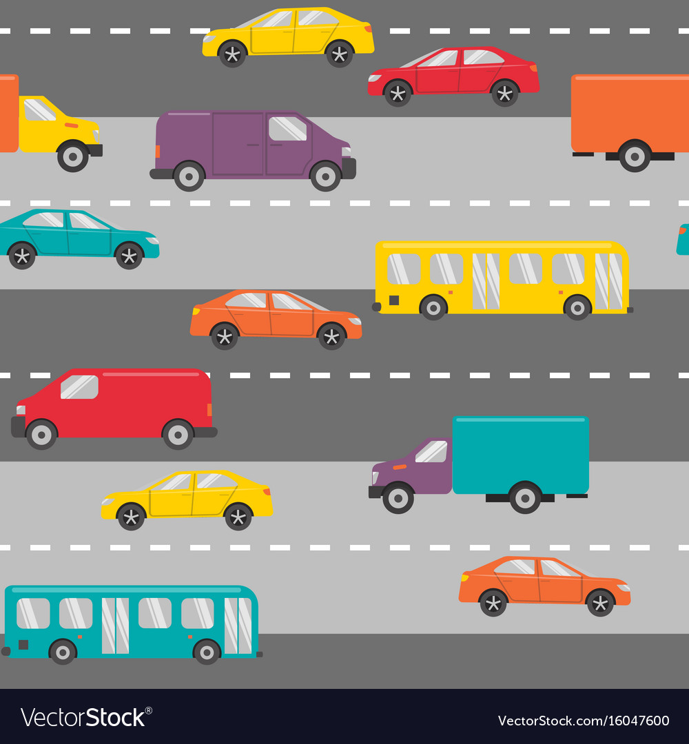 Seamless pattern with cars on the road