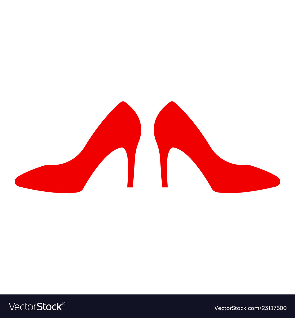 Shoe store label red shoe on hill icon