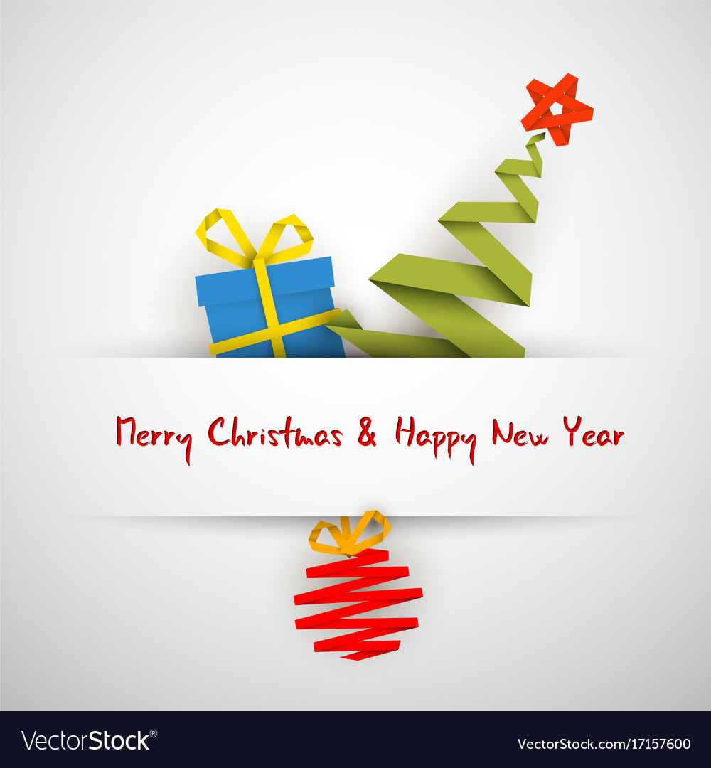 Simple christmas card with gift tree and bauble vector image m4hsunfo