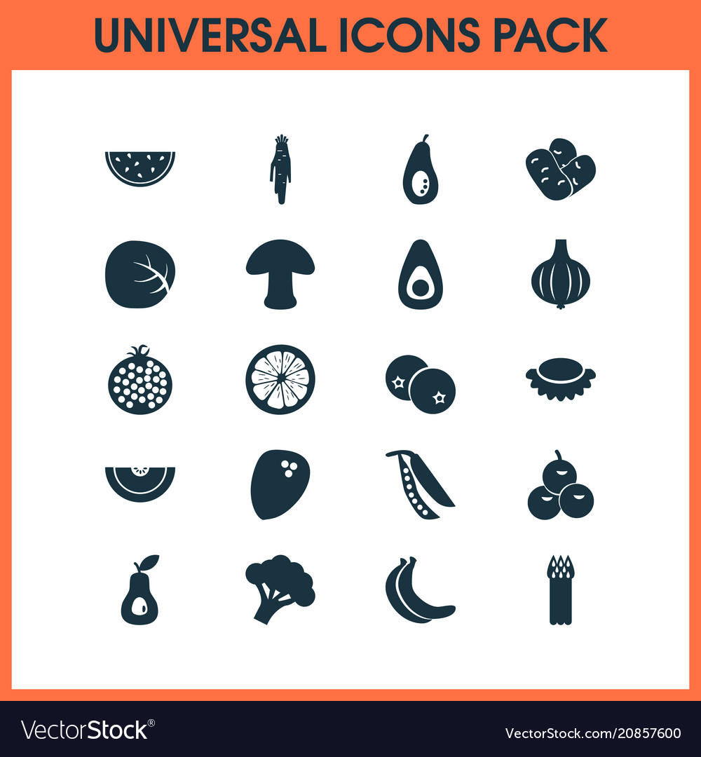 Vegetable icons set with coconut olives