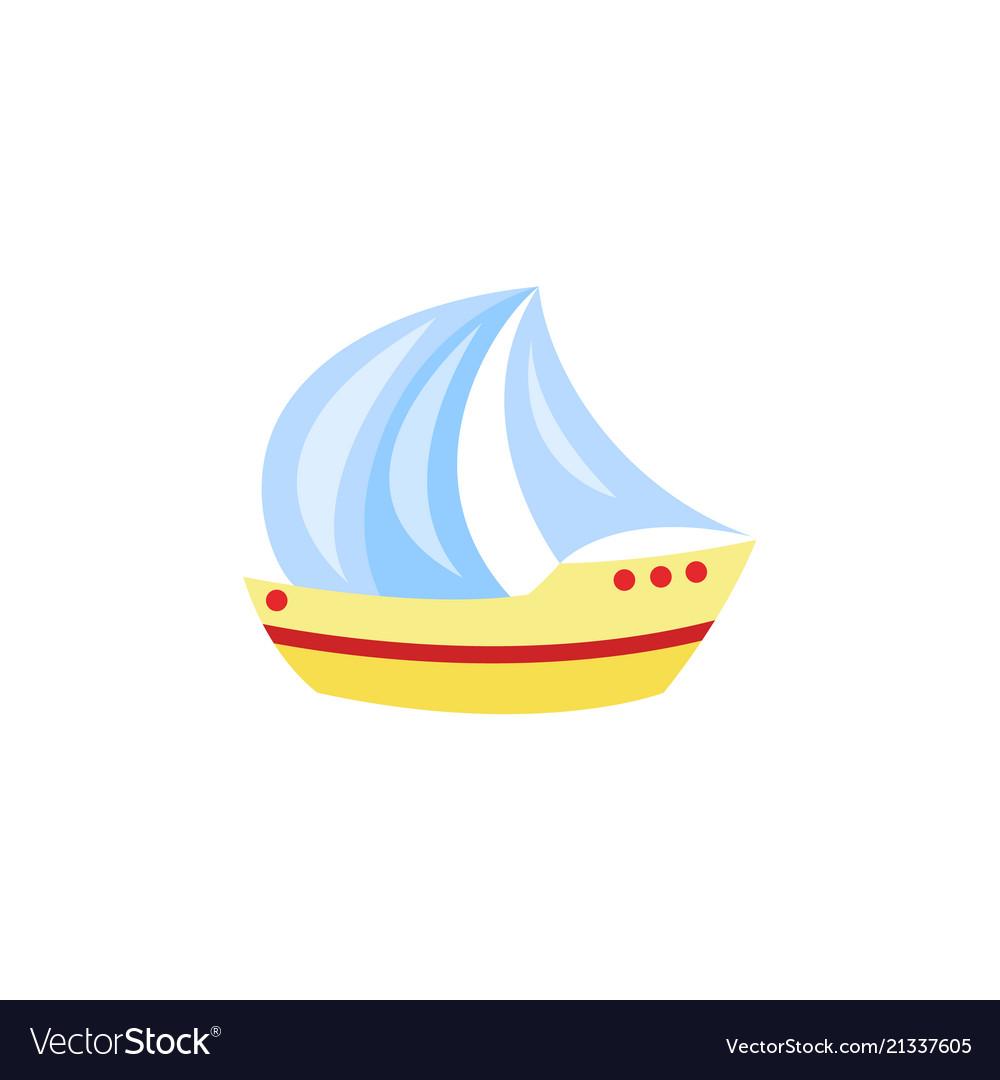Cartoon travelling sailboat sailing yacht