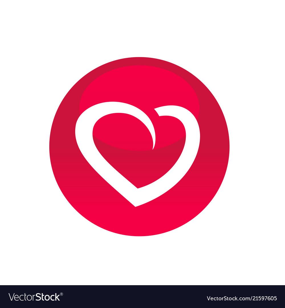 Circle with heart symbol icon logo element