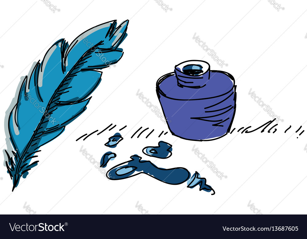 Colored feather pen with ink vector image