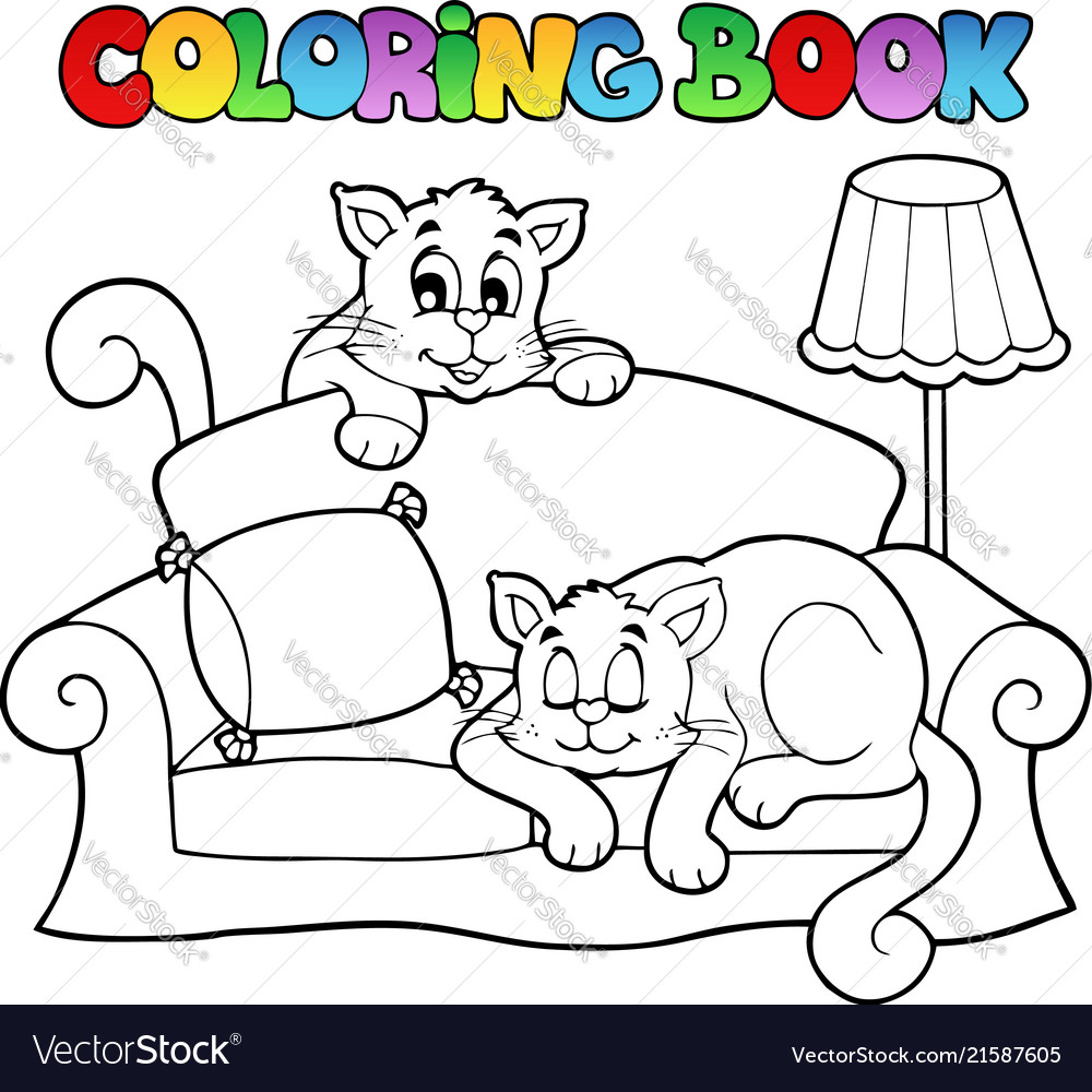 Coloring book sofa with two cats Royalty Free Vector Image