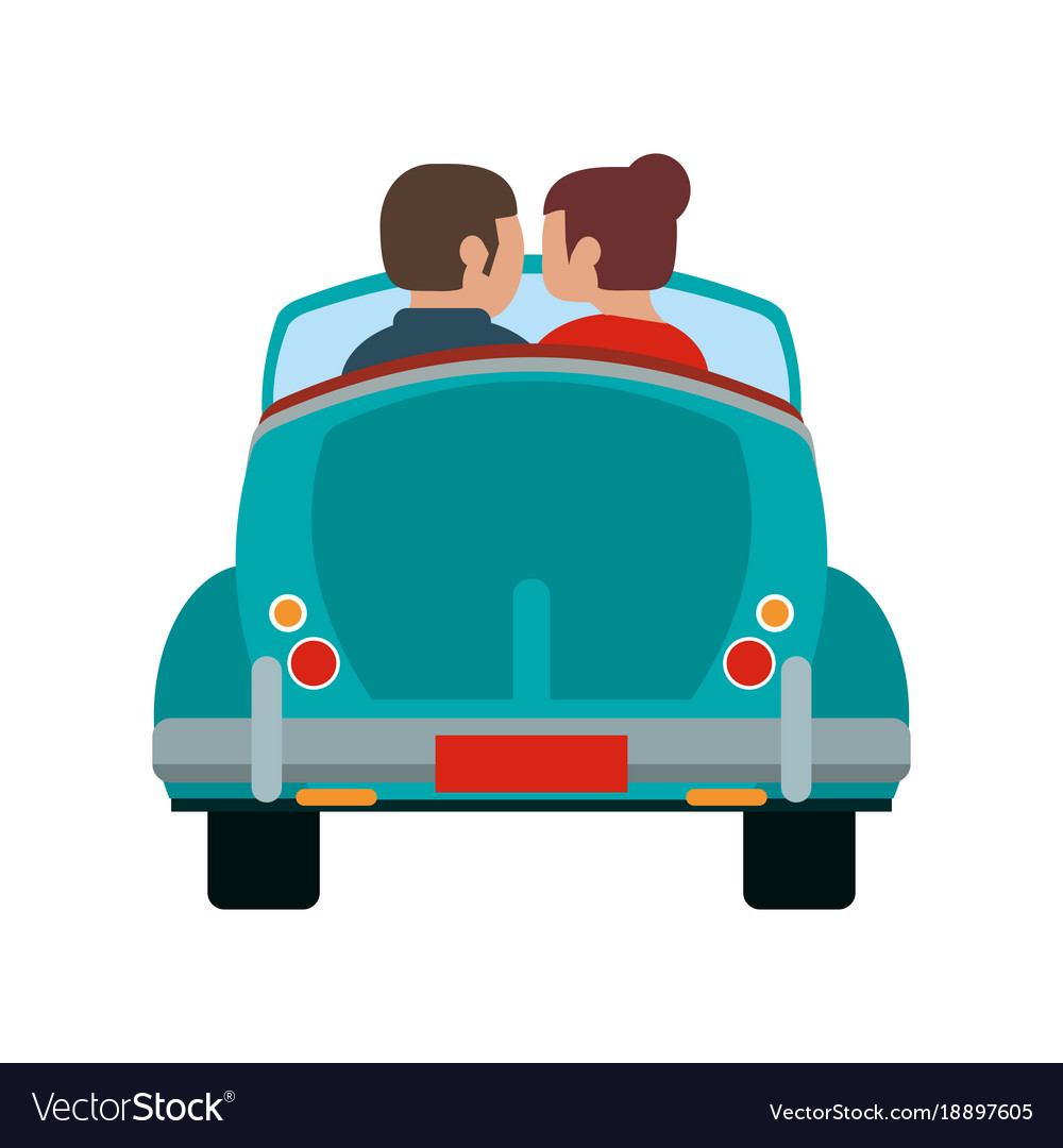 couple in vintage car royalty free vector image rh vectorstock com vintage car background vector vintage car logo vector